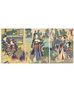 Kunichika Toyohara, Cherry Blossom Viewing, The Tale of Genji