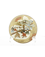 satsuma, handmade, artisan, meiji period, gold, handpainted, flower, crackle, porcelain