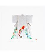 japanese woodblock print, contemporary japanese art, silver pigment, koi carp, kimono fashion, kunio kaneko