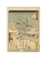hiroshige II utagawa, kanda myojin, japanese temple, japanese woodblock print, pine tree