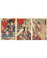 kunichika toyohara, kabuki theatre, performance, traditional theatre, japanese actors, snow scene