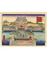 shosai ikkei, kameido, temple, famous views of tokyo, landscape, stone lantern