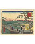 shosai ikkei, mokubo temple, landscape, famous views of tokyo, sakura