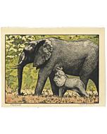toshi yoshida, elephants, animal print