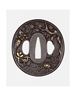 tsuba, sword guard, japanese sword, katana, autumn landscape, artisan, swordsmith, metalware