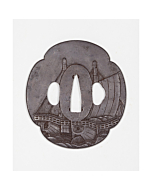 tsuba, iron, sword fitting, sailing ship, japanese sword, japanese katana, swordsmith, artisan