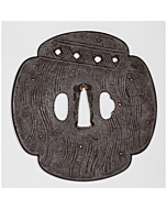 tsuba, iron, mokko shape, sword fitting, japanese sword, swordsmith, katana, artisan