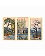 Toshi Yoshida, landscape, japanese garden, japanese woodblock print, sakura