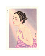 japanese woodblock print, lingering dreams, nude, portrait, contemporary art