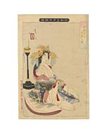 japanese woodblock print, japanese antique, hell courtesan, yoshitoshi