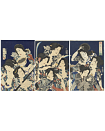 kunichika toyohara, water margin, tattoo design, japanese woodblock print, japanese antique
