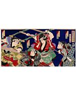 kunichika toyohara, tattoo design, sumo wrestling, japanese pattern, japanese woodblock print