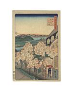 japanese woodblock print, japanese antique, landscape, sakura, hiroshige, ukiyo-e