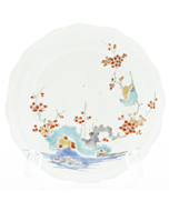 Kakiemon Round Saucer, Red Plum Blossoms, Porcelain, Japanese antique, Japan