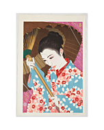 japanese woodblock print, paul binnie, spring, sakura, cherry blossom, beauty, umbrella, portrait