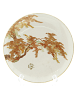 Yabu Meizan, Plate with Maple Tree, Satsuma Ceramics, Japanese antique, Japanese art, Japan
