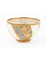 Dai Nippon Kozan Zo, Tea Bowl, Satsuma Ceramics, Butterflies, Japanese antique, Japanese art