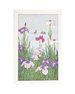 toshi yoshida, irises, duck, burd, japanese woodblock print, modern print