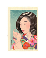 japanese woodblock print, contact lenses, contemporary art, paul binnie, portrait