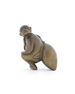 Wooden Netsuke, Monkey and Peach, Legend, Figurine, Animal, Fruit, Carving, Original Japanese antique