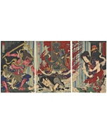 Kunichika Toyohara, Kabuki, Waterfall, Buddhism, Japanese theatre, japanese woodblock print, antique