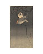 Koson Ohara, Starlings and Red Berries, Japanese woodblock print, Japanese antique, bird
