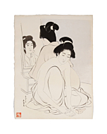 Goyo Hashiguchi, japanese bath, japanese woodblock print, antique, shin hanga, japanese hairstyle