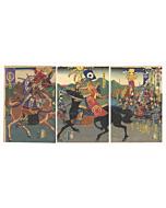 yoshitora utagawa, japanese warrior, samurai, yoroi, japanese woodblock print, japanese antique