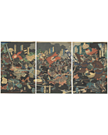 Yoshitoshi Tsukioka, Great Battle, Warrior, samurai, yoroi, katana, japanese woodblock print, japanese antique