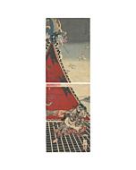 Yoshitoshi Tsukioka, Tale of Eight Dogs, Vertical Diptych, japanese woodblock print, japanese antique