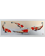 kunio kaneko, contemporary art, japanese woodblock print, koi fish, japanese art