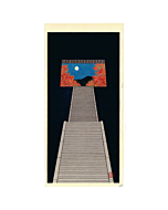 Teruhide Kato, Stairway to Autumn Moon, Fall, Night, Contemporary Art, Travel, Original Japanese woodblock print