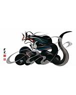 Tetsuya Abe, Black Dragon, Sacred Pearl, Contemporary Art, Original Japanese ink painting, One Stroke