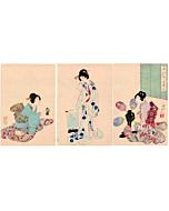 Chikanobu Yoshu, Chiyoda Palace, japanese bath, japanese woodblock print, japanese antique, kimono
