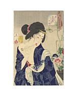 japanese woodblock print, japanese art, kimono design, beauty portrait, nude, yoshitoshi