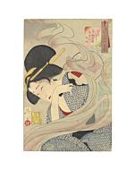 japanese woodblock print, japanese art, kimono design, fashion, beauty portrait, yoshitoshi