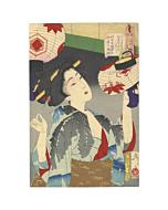 japanese woodblock print, japanese art, ukiyo-e, kimono design, beauty portrait, yoshitoshi