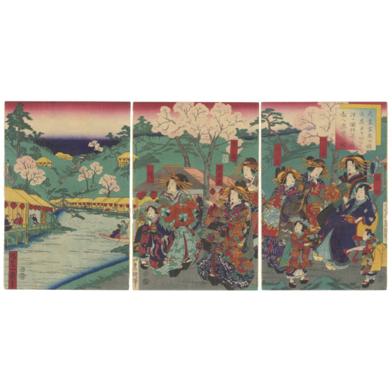toyokuni IV utagawa, ikkei shosai, courtesans, sakura, hanami, cherry blossom viewing
