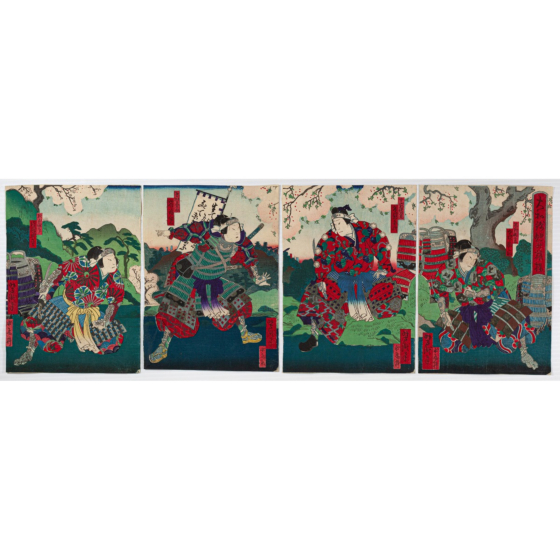 yoshitaki utagawa, Kabuki Play, Yamato Nishiki Asahi no Hataage, osaka-e