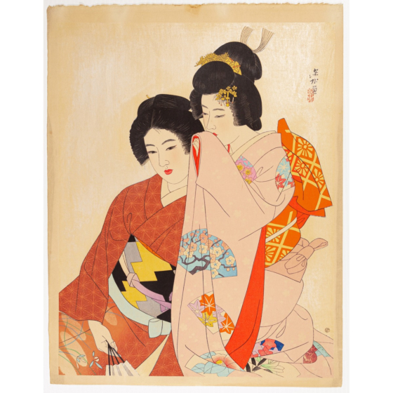 ito shinsui, whisper, beauty, shin-hanga, kimono design, japanese pattern
