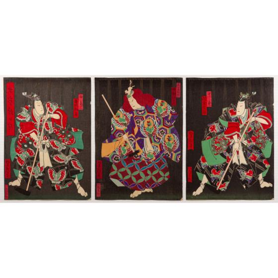 yoshitaki utagawa, Kabuki Play, Takara Zukushi Monbi no Irodori(七宝紋日彩)