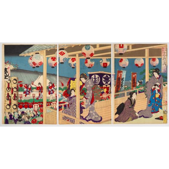 chikanobu yoshu, November, Enjoying Theatre Performance, Twelve Months of the Customs of Edo(江戸風俗十二ヶ月之内)