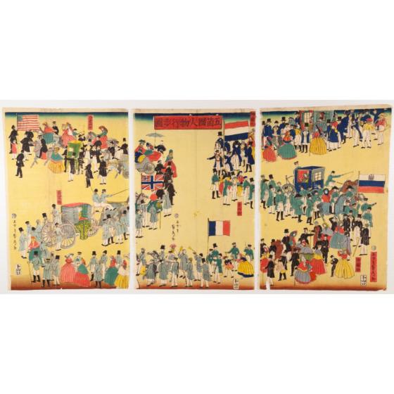 sadahide utagawa, procession, yokohama, foreigners