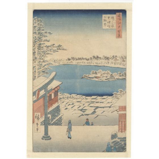 hiroshige ando, snow scene, shrine, landscape