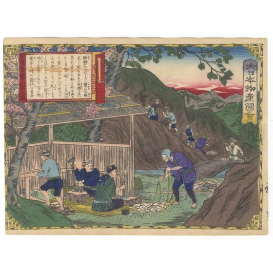hiroshige III utagawa, Hyuga Province, Processing Melanterite, Famous Products of Japan (大日本物産図会)
