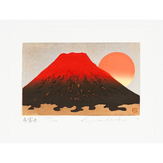 kunio kaneko, kotobuki fuji, red, gold leaf, longevity, contemporary art