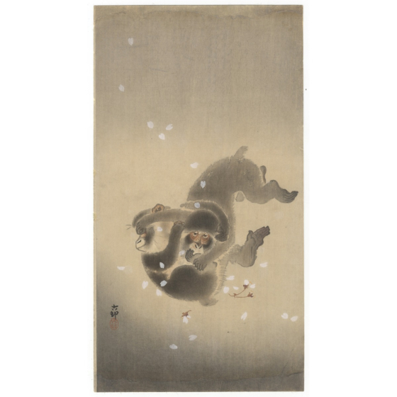 koson ohara, playing monkeys