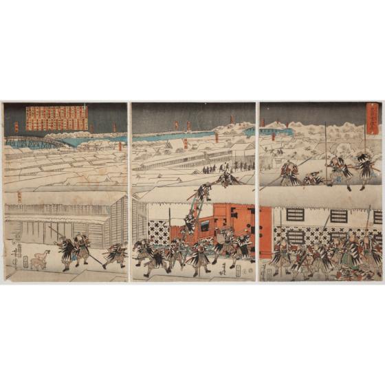 yoshitora utagawa, Determined Retainers in the Snowy Night(忠臣雪夜志 ちゅうしんいさぎよし)