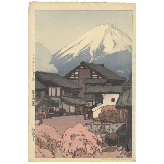 japanese woodblock print, japanese antique, mount fuji, landscape, hiroshi yoshida