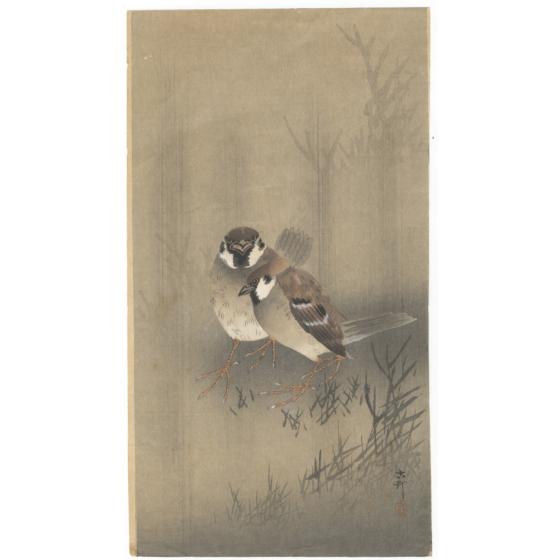 koson ohara, sparrows in the rain, bird print